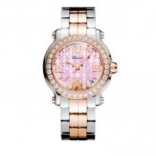 Chopard Happy Sport Medium 36mm Educate A Child 18K Oro rosa & Inoxidable Acero Diamond para mujer