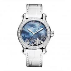 Chopard Happy Snowflakes Azul Madre perla Diamond Blanca Cuero Strap Edicion limitada para mujer