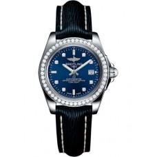 Breitling Galactic 32 Sleek Edition Azul Diamond Marcar de mujer con correa de cuero azul Réplicas