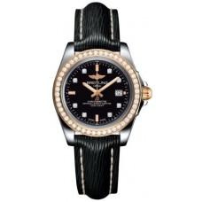 Breitling Galactic 32 Sleek Edition Trophy Marcar de diamantes negros Correa de cuero negra para mujer Réplicas