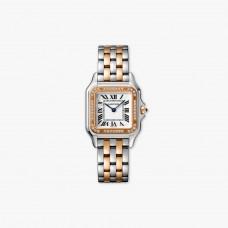 Cartier Panthere Acero 18K Oro rosa Cuarzo Bisel de diamantes Medium W3PN0007