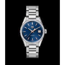 TAG Heuer Carrera Ladies cuarzo esfera azul con bisel de diamantes unisex Réplicas