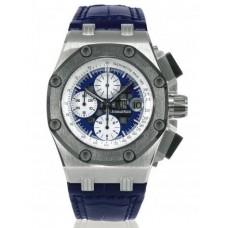 Replicas de Audemars Piguet Blue Dial Crocodile Leather Strap hombres Cronógrafo reloj