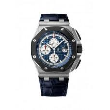 Replicas de Audemars Piguet Royal Oak Offshore Blue Alligator Leather hombres reloj