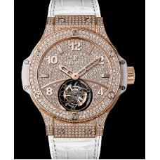 Replicas de Hublot Big Bang Oro  blanco Tourbillon Full Pave reloj