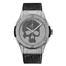 Replicas de Hublot Classic Fusion Titanium Skull Pave hombres reloj