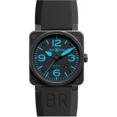 Réplica Bell & Ross Aviation BR 03-92 Carbon Azul hombres Limited Edition reloj