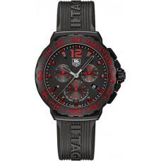 Réplicas Tag Heuer Formula 1 Chronograph Negro y rojo Dial Caucho negro CAU111DFT6024