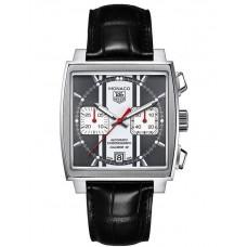 Réplicas Tag Heuer Monaco Automatico Chronograph Dial Negro Cuero negro CAW211N.FC6177