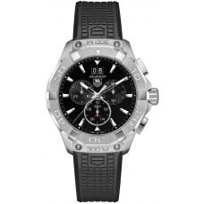 Réplicas Tag Heuer Aquaracer Dial Negro Chronograph Caucho Correa CAY1110.FT6041