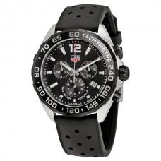 Réplicas Tag Heuer Formula 1 Chronograph Dial Negro Caucho negro CAZ1010.FT8024