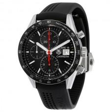 Réplicas Tag Heuer Carrera Chronograph Automatico Dial Negro Caucho negro CV201AK.FT6040