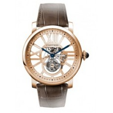 Rotonde de Cartier Flying Tourbillon Skeleton Dial hombres Reloj W1580046