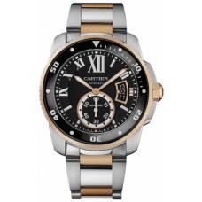 Calibre De Cartier Diver Negro Dial Acero y oro rosa hombres Reloj W7100054