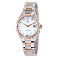 Réplicas Tag Heuer Carrera Blanco Madre de Pearl Dial Wesselton Diamantes Reloj de mujer WAR1352.BD0779