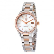Réplicas Tag Heuer Carrera Madre de Pearl Dial Diamante Bezel Acero 18kt Oro rosa Reloj de mujer WAR1353.BD0779