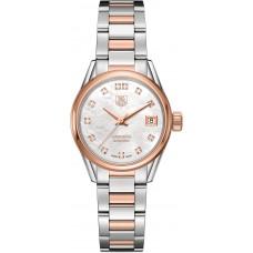 Réplicas Tag Heuer Carrera Mother of Pearl Diamante Acero 18K Oro rosa Reloj de mujer WAR2452.BD0777