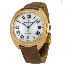 Cartier Cle Silver Flinque Dial 18K Rose GOld Automatic hombres Reloj