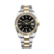 Réplicas Rolex Datejust 41 12633BKSO esfera negra de acero y 18K oro amarillo Oyster Watch