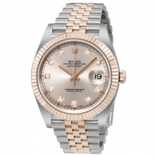 Réplicas Rolex Datejust RLX126331SND Sundust Diamond Dial Steel y 18 Everose Gold Watch RLX126331SNDJ