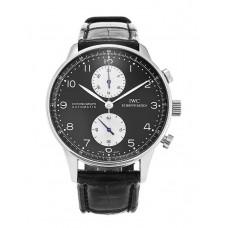 Réplicas IWC Portuguese Chrono automático de acero negro para hombre reloj IW371404