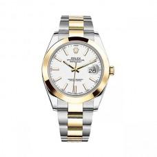 Réplicas Rolex Datejust 41 126303WSO esfera blanca de acero y 18K oro amarillo Oyster Watch