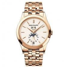 Patek Philippe Annual Calendar plata 18kt Oro rosa hombres Reloj 5396-1R-010