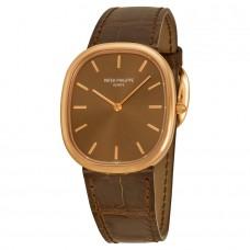 Patek Philippe Golden Ellipse Automatico esfera marron 18k Oro rosa hombres Reloj 3738/100R/001