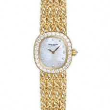 Patek Philippe Golden Ellipse Blanco Madre perla Marcar Senoras Reloj 4931-2J