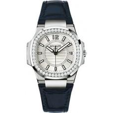 Patek Philippe Nautilus 18kt Oro blanco Diamante Case Senoras Reloj 7010G