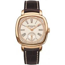 Patek Philippe plata 18kt Oro rosa Diamante marron Cuero Senoras Reloj 7041R