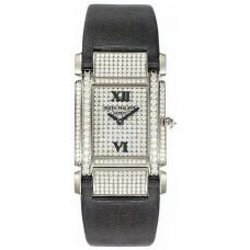 Patek Philippe Twenty-4 18kt Oro blanco Diamante Marcar Satin Strap Senoras Reloj 4910G