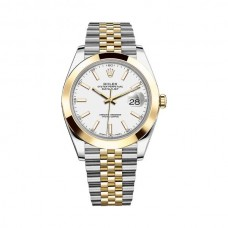 Réplicas Rolex Datejust 41 RLX126303CSJ Dial de acero blanco y reloj de oro amarillo 18K Jubileo 126303WSJ