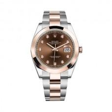 Réplicas Rolex Datejust 41 126301CHDO Diamante de chocolate con esfera de acero y reloj de oro rosa de 18 quilates