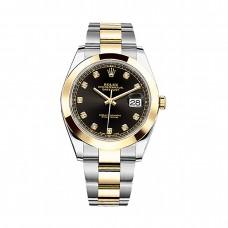 Réplicas Rolex Datejust 126303BKDO Black Diamond Dial Steel y 18K Yellow Gold Oyster Watch