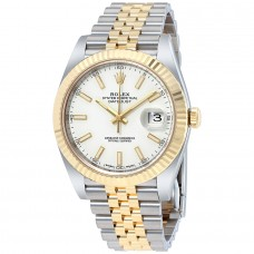 Réplicas Rolex Datejust 41 12633WSJ esfera blanca de acero y reloj de oro amarillo 18K Jubileo