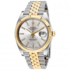 Réplicas Rolex Datejust 41 126333SSJ Silver Dial Steel y reloj de oro amarillo 18K Jubileo