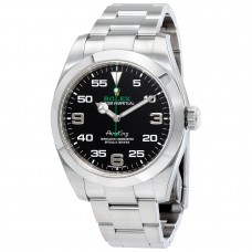 Réplicas Rolex Air King 116900BKAO esfera negra reloj de acero inoxidable
