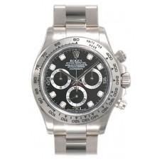 Réplicas Rolex Daytona 116509BKDO Black Diamond Oyster Pulsera 18k oro blanco reloj