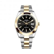 Réplicas Rolex Datejust 41 RLX126303BKSO esfera negra de acero y reloj de oro amarillo de 18 quilates Oyster