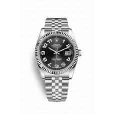 Réplica Rolex Datejust 36 Blanco Rolesor Oystersteel Oro blanco 116234 Negro Dial Reloj