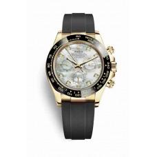 Réplica Rolex Cosmograph Daytona oro amarillo 116518LN Blanco mother-of-pearl Diamantes Dial Reloj