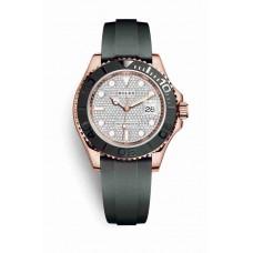 Réplica Rolex Yacht-Master 40 Everose oro 116655 Diamante-paved Dial Reloj