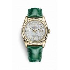 Réplica Rolex Day-Date 36 oro amarillo 118138 Blanco mother-of-pearl Diamantes Dial Reloj