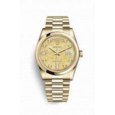 Réplica Rolex Day-Date 36 oro amarillo 118208 Champagne-colour mother-of-pearl Jubilee Diamantes Dial Reloj