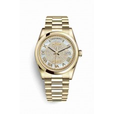 Réplica Rolex Day-Date 36 oro amarillo 118208 Blanco mother-of-pearl Diamante paved Dial Reloj