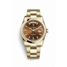 Réplica Rolex Day-Date 36 oro amarillo 118208 Cognac Dial Reloj