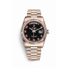 Réplica Rolex Day-Date 36 Everose oro 118235 Negro Dial Reloj
