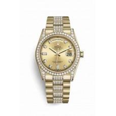 Réplica Rolex Day-Date 36 oro amarillo lugs Diamantes 118388 Champagne-colour Diamantes Dial Reloj