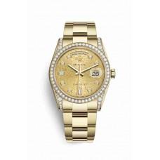 Réplica Rolex Day-Date 36 oro amarillo lugs Diamantes 118388 Champagne-colour Jubilee Diamantes Dial Reloj